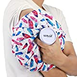 Neotech Care Ice Bag for Injuries, Swelling, Headache, Pain Relief, First Aid - Cold Pack Screw Top Lid - Reusable, Refillable, Flexible & Waterproof Pouch/Bladder Style (11 inch, Feather Design)