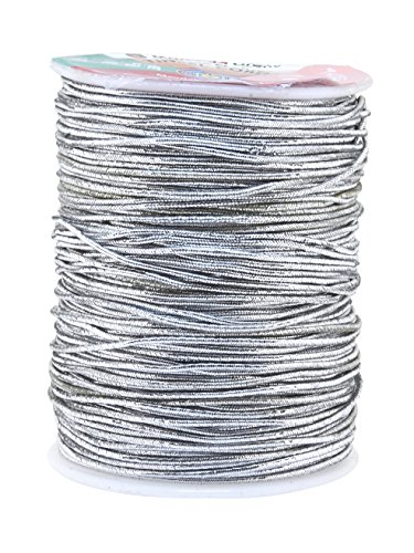 Mandala Crafts Metallic Cord Tinsel String Rope for Ornament Hanging, Decorating, Gift Wrapping, Crafting; Elastic 1mm 109 Yards, Silver