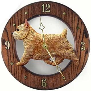 Michael Park GRIZZLE Norwich Terrier Wall Clock in Dark Oak by