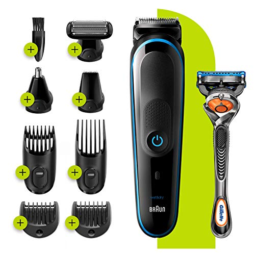 Braun 9-in-1 All-in-one Trimmer 5 MGK5280, Beard Trimmer for Men, Hair Clipper and Body Groomer with AutoSensing Technology and 7 Attachments, Black/Blue, UK Two Pin Plug