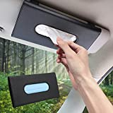 Hyeaquo Car Visor Tissue Holder, Car Mask Holder, Car Sun Visor Napkin Holder Backseat Tissue Case,Pu Leather Tissues Box,Car Tissue Holder(Black)