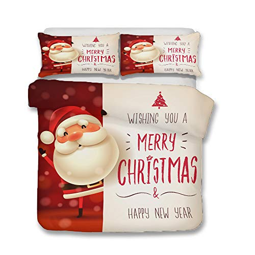 Completo Letto Natale, Verde, Rosso, Bianco Copripiumino E Federa in Microfibra Soffice E...