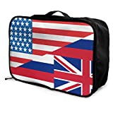 Qurbet Reisetaschen,Reisetasche, Half USA Half Hawaii State Flag Overnight Carry On Luggage Waterproof Fashion Travel Bag Lightweight Suitcases