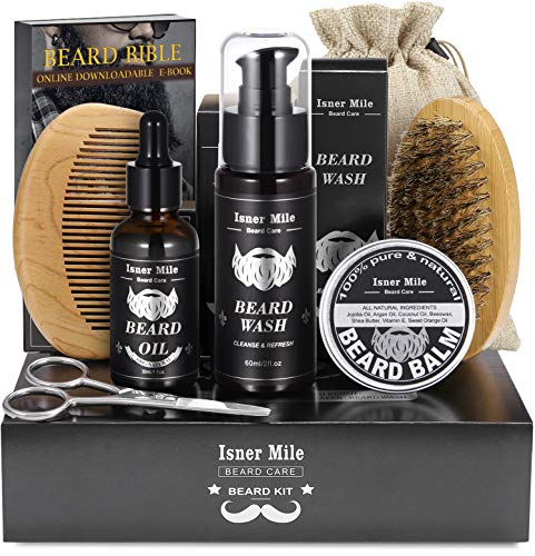 UPGRADED Beard Kit for Men Beard Growth Grooming & Trimming with Unscented Oil