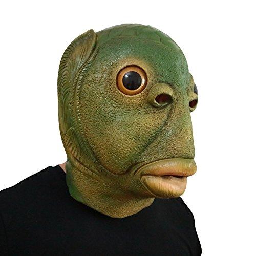 thematys Grüner Fisch Fish mit Glasaugen Maske - perfekt für Fasching, Karneval & Halloween - Kostüm für Erwachsene - Latex, Unisex Einheitsgröße