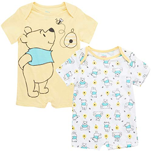 Disney Baby Boys' Mickey Mouse 2 Pack Short Sleeved Romper with Snap Closure (Newborn/Infant), Size 18 Months, Pooh Bear