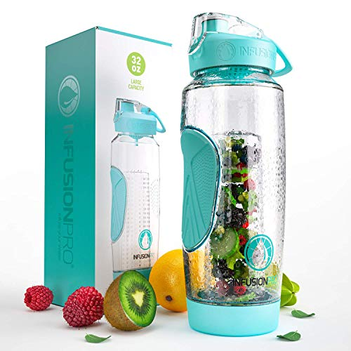 Infusion Pro 32 oz Infuser Water Bottle With Fruit Infuser - Insulated Sleeve & Fruit Infused Water eBook : Bottom Loading, Large Water Infuser for More Flavor : Delicious, Healthy Way to Up Your Water Intake : Great Gift Water Bottles For Women