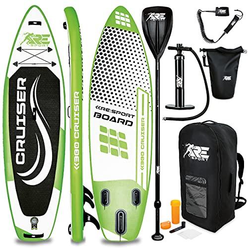 RE:SPORT SUP Board Set aufblasbar   Stand Up Paddle Board mit Zubehör   Paddling Surfbrett   Surfboard für Einsteiger & Fortgeschrittene (Grün, 320cm)