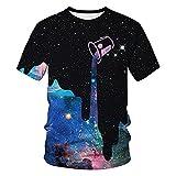 BM-Fibrehouse T-Shirt 3D per Uomini e Donne MD051 Collare Rotondo Manica Corta a Maniche Corte Unisex 3D Casual Tees con Galassia Design Latte tazza-2xl