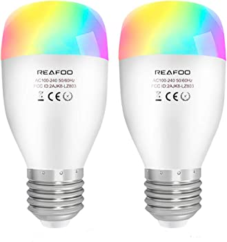 2 Pack REAFOO Smart WiFi LED Light Bulb with Timer and Remote