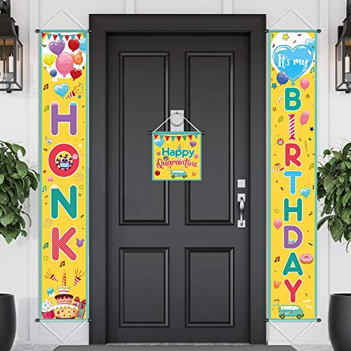 HONK It's My Birthday Party Decoration Happy Quarantine Banner Sign with Happy Quarantine Door Hanger, Social Distancing Party Sign, Birthday Backdrop Banner Background for Photo Props, 11.8 x 71 Inch