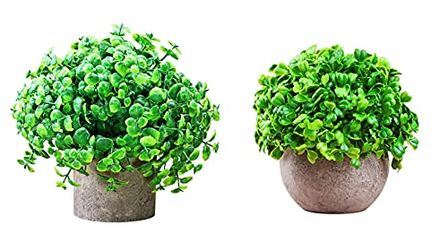 Artificial Plants Potted 2 Pack Eucalyptus Small Fake Green Plants in Pot Artificial Topiary Plants Faux Plants Bonsai with Green Leaf for Home Decor Indoor& Outdoor (7inch H✖12inch W)