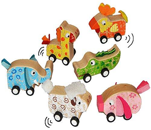 alles-meine.de GmbH 3 STK. Aufziehziere aus Holz - Tier zum Aufziehen und Fahren / mit Rückzug - Aufziehtiere / Holztiere - Tiere Elefant Krokodil Schwein Schaf Giraffe Huhn - Au..
