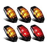 Partsam 4 Amber + 2 Red Universal Smoked Side Marker Trailer Light Surface Mount 2 Diodes, Sealed Mini Led Marker Clearance or Identification Lights, Mini Side Fender Lights (2.54' x 1.06')