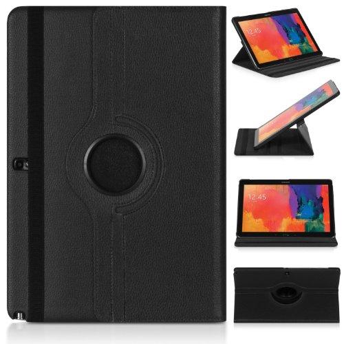 ratesell Struktur 360° Flip Hülle Tasche für Samsung Galaxy Note 12.2Pro P900/P905mit Standfunktion, Schwarz