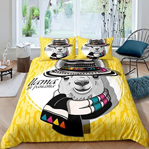 Tbrand Lindo juego de ropa de cama con diseño de llama, alpaca, diseño de animales sudamericanos, funda de edredón para niños, niños, niñas, tamaño doble