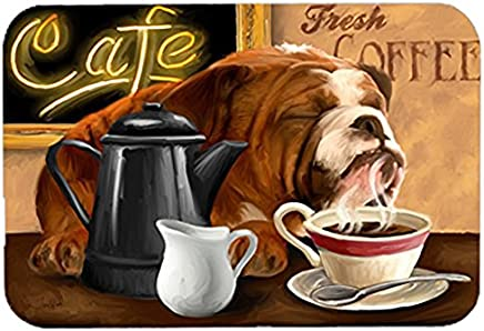 Caroline's Treasures PTW2061LCB English Bulldog Morning Coffee Glass Cutting Board, Large, Multicolor