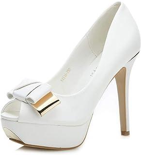 High Heels Leather Sandals Fish Mouth high Heel Sandals Wedding Ball high Heels Waterproof Platform Wild Sandals (Color : White, Size : 39/US8)