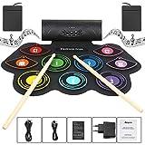 Electronic Drum Set plegable Altavoz incorporado, 9 de ratón de juegos de batería electrónica estéreo con MIDI rollo portátil hasta Drum Pad, USB / carga de la batería para los niños y principiantes