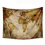 iSpchen Tapiz Mapa del Mundo Tapiz Hippie Vintage Mantel Toalla de Playa Picnic Decoración para el hogar Sala de Estar Dormitorio Decoración