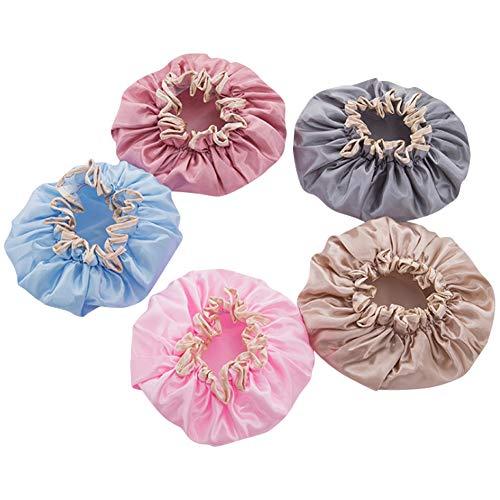 SODIAL Bonnet de Douche Double Couche Bonnet ImperméAble pour Femme Bonnet de Bain et de Bain Couverture de Cheveux Bonnet Anti-FuméE pour Cheveux Secs