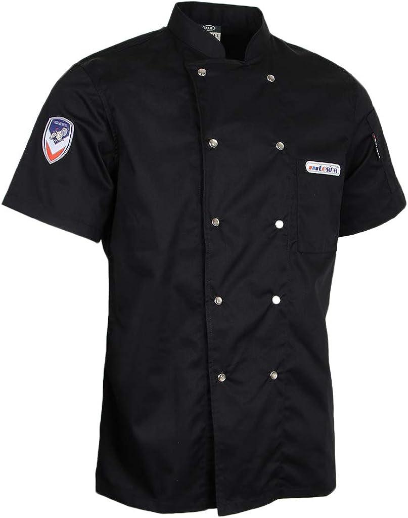 dailymall Men/'s Women Chef Jacket Coat Short Sleeve Badge Snap Button Uniform Chefwear