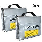 Amacoam 2 Stück Lipo Batterie Sicherer Beutel Feuerfeste Explosionsschutz Lipo Battery Guard Tasche Sack Gebühren Schutz Tasche Modell Lithium Batterie Feuerfeste Tasche, Silber (L/9,4 * 2,5 * 7in)