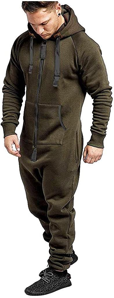 Men's Hooded Jumpsuit Full Zip Onesie Rompers One Piece Pajamas Overalls Lightweight Playsuit with Pockets