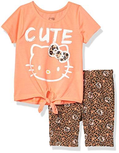 Hello Kitty Girls' Bike Short Set, NEON Coral, 4