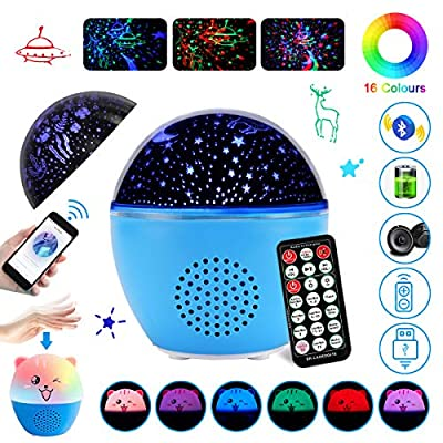 Night Light for Kids, GEEHOOD Star Rotating Projector with 16 Lighting Modes, Warm Lighting with Rechargeable Bluetooth Speaker for Baby Bedroom Gift