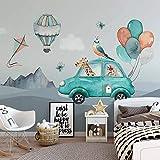 Papel tapiz mural 3D personalizado para dibujos animados pintado a mano globo coche jirafa habitación de niños habitación de bebé dormitorio fondo foto papel de pared-250 * 175cm