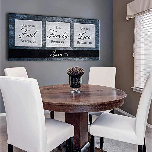 Sense of Art | Bless the Food Before Us The Family Beside Us and The Love Between Us Quote V2 | Wood Framed Canvas | Horizontal Ready to Hang Family Wall Art for Home Decoration