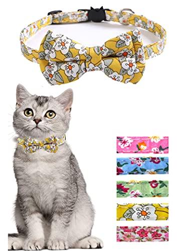 Moonpet Collar de gato Breakaway con patrón floral pajarita y campana, collares de seguridad lindos gatitos - amarillo