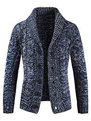 THICK SWEATER. Men's button cardigan sweater with soft washing finishing.Shawl Collar and allover half cardigan knitted with special zig zag. Long sleeve knitted sweater cardigans coat PERFECT DESIGN. Regular fit.Shawl collar.Button closure.Single br...