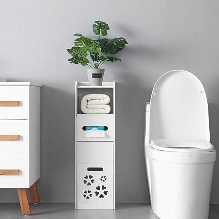 Henf Bathroom Cabinet Bathroom Storage Corner Floor Cabinet Free Standing Toilet Tissue Storage Tower Shelf Paper Holder Organizer W Drawer And Single Shutter Door Garbage Can