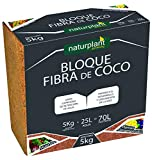 NATURPLANT COCPAST Fibra de Coco Pastilla 5 Kg, Marrón