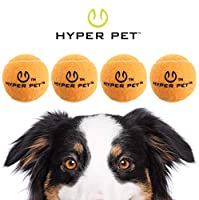 Hyper Pet Tennis Balls for Dogs, Pet Safe Dog Toys for Exercise and Training, Pack of 4, Orange
