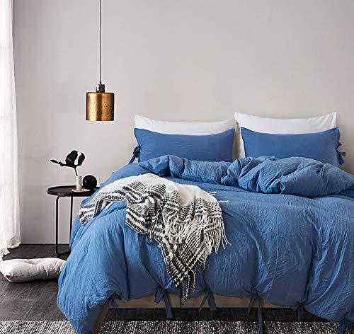 MUKKA Bettbezug mit Fliege, gewaschene Baumwolle, 3-teilig Full/Queen(90