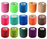 "KISEER 15 Pack 2"" x 5 Yards Self Adhesive Bandage Assorted Color Breathable Cohesive Bandage Wrap Rolls Elastic Self-Adherent Tape for Stretch Athletic, Sports, Wrist, Ankle"