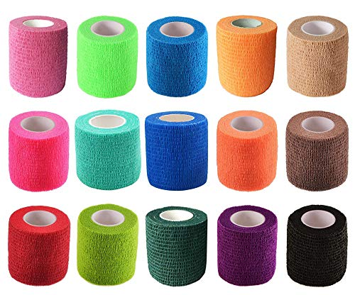 "KISEER 15 Pack 2"" x 5 Yards Self Adhesive Bandage Assorted Color Breathable Cohesive Bandage Wrap Rolls Elastic SelfAdherent Tape for Stretch Athletic Sports Wrist Ankle"