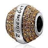 Charm-Anhänger mit Geburtsstein für Pandora-Armband, aus 925er-Sterlingsilber, perfekt als Geschenk zum Jahrestag November
