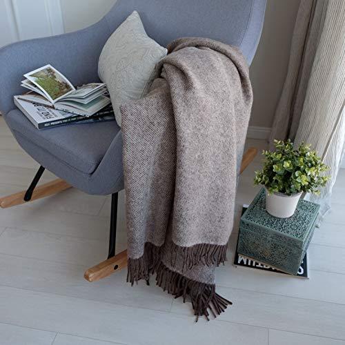 Linen & Cotton Weiche Warme Decke Wolldecke Wohndecke Kuscheldecke Columbus - 100% Reine Neuseeland Wolle, Braun Weiß (140 x 200 cm) Tagesdecke Sofadecke Couchdecke Plaid Winter Sofa Schurwolle