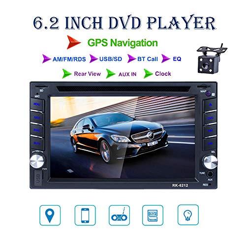 REAKOSOUND autoradio 2 DIN 6,2 pollici schermo di tocco di HD GPS Navigator con Blutooth FM Radio di sostegno AM/FM/DVD/USB/SD, AUX IN vista posteriore