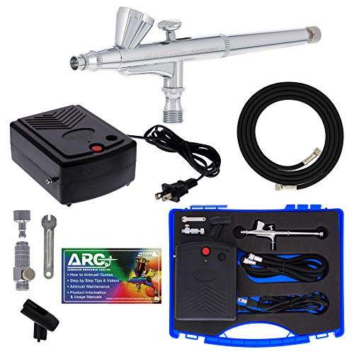 Master Airbrush Airbrushing System Kit with a G34 Multi-Purpose Gravity Feed Dual-Action Airbrush with 1/16oz. Cup and 0.3mm Tip, Mini Air Compressor, Hose, Storage Case, How-To-Airbrush ARC Link Card