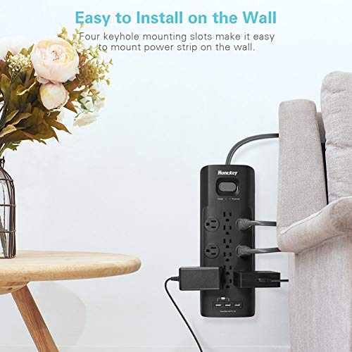 Huntkey Surge Protector Power Strip, 12 Outlets Extender with 3 USB Charging Ports 5V/3.1A, 6 Foot Extension Cord, 4000 Joules 9