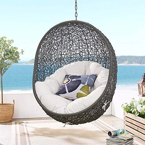 Modway EEI-3634-GRY-WHI Hide Sunbrella Fabric Swing Outdoor Patio Lounge Chair Without Stand, Gray White