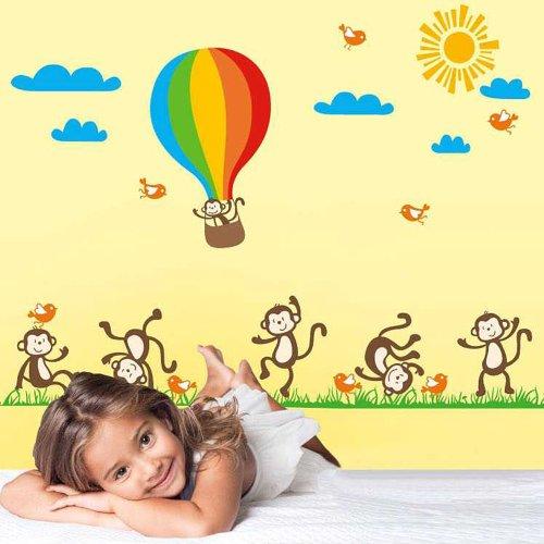 Walplus Autocollant Mural Animaux Mignon Cartoon Mural Vinyle Maison Décoration DIY Bureau Décor Peint Crèche Chambre Enfants Cadeau, Multicolore
