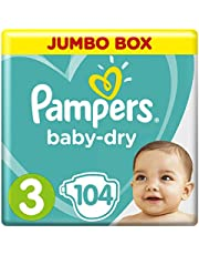 Pampers Baby-Dry, Size 3, Midi, 6-10 kg, Jumbo Box, 104 Diapers