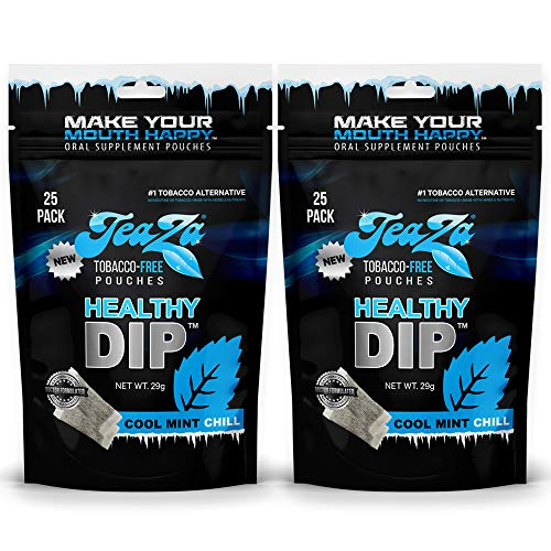 Teaza Herbal Energy Pouches, Tobacco Alternative Nicotine Free, Smokeless Alternative Snuff and Healthy Dip, Tobacco Free Chew Premium Crisp Minty Flavor   Cool Mint Chill   2 x 25 Pouch Packs