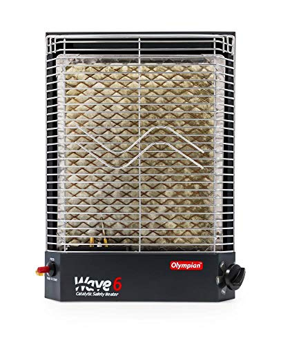 camco gas heaters Camco Olympian RV Wave-6 LP Gas Catalytic Safety Heater, Adjustable 3200 to 6000 BTU, Warms 230 Square Feet of Space, Portable and Wall Mountable